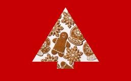 另外的背景格式xmas 由姜饼做的圣诞树 Xmas概念 圣诞快乐看板卡 复制您的文本的空间 库存照片