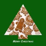 另外的背景格式xmas 由姜饼做的圣诞树 Xmas概念 圣诞快乐看板卡 复制您的文本的空间 免版税图库摄影