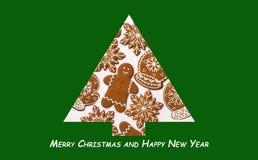 另外的背景格式xmas 由姜饼做的圣诞树 Xmas概念 圣诞快乐看板卡 复制您的文本的空间 免版税库存照片