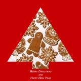 另外的背景格式xmas 由姜饼做的圣诞树 Xmas概念 圣诞快乐看板卡 复制您的文本的空间 库存图片