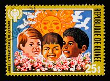 另外种族,儿童serie的年的孩子,大约1980年 库存照片
