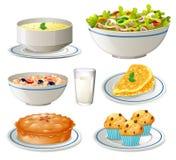 另外种类在板材的食物 库存例证