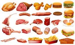 另外种类肉和食物 图库摄影