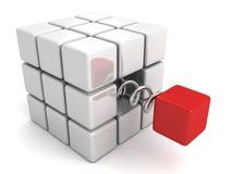 另外红色立方体从白色人群小组跳出 库存例证
