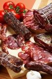 另外肉制品蒜味咸腊肠 免版税库存照片