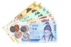 另外价值韩国货币票据和硬币,保存您的金钱概念 免版税库存图片