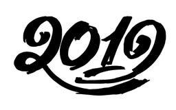 2019只手书面字法 猪的新年 难看的东西第2019手拉的字法 免版税图库摄影