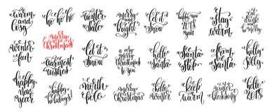 25只手对圣诞节假日设计的字法集合 免版税库存照片