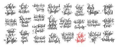 25只手对圣诞节假日设计,冬时的字法集合 免版税库存图片