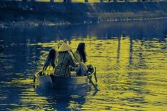 只有小船女孩 图库摄影