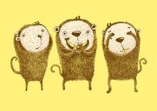 3只猴子,听不到罪恶,不看罪恶,不讲罪恶 库存例证