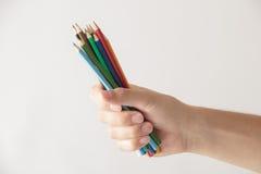 3只蜡笔现有量 免版税库存照片