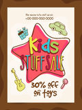 只适合于小孩的事物销售横幅、海报或者飞行物设计 图库摄影