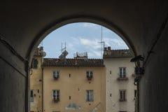 叫作广场圆形剧场的著名中世纪正方形在卢卡 免版税库存图片