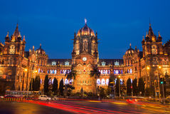 叫作维多利亚终点及早的Chatrapati Shivaji终点在孟买 库存图片
