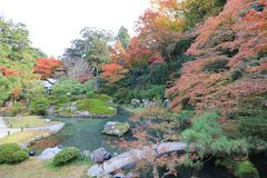 叫作Awata宫殿的寺庙的申英澈小室Shoren 免版税库存照片