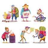 叫化子,无家可归者,流浪者,流浪汉,滑稽的动画片集合 向量例证