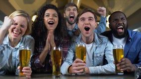 叫喊快乐的队的支持者和使叮当响的啤酒杯,庆祝目标 股票录像