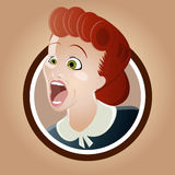叫喊的减速火箭的妇女 免版税图库摄影