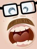 叫喊的动画片面孔 库存图片