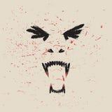 叫喊的吸血鬼面孔 免版税库存图片