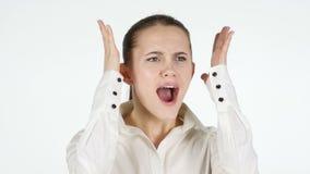 叫喊的妇女,白色背景 影视素材