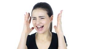 叫喊的妇女,白色背景 股票视频