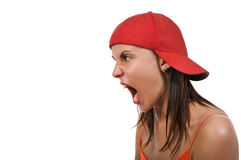 叫喊的妇女 免版税图库摄影