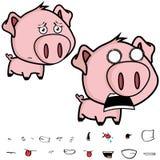 叫喊的矮小的大顶头猪动画片表示集合 免版税库存图片