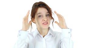 叫喊的红色头发妇女,白色背景 影视素材