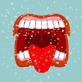 叫喊 人呼喊 猛烈情感 张开您的嘴和舌头 免版税库存照片