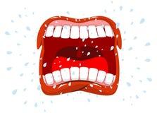 叫喊 人呼喊 猛烈情感 张开您的嘴和舌头 库存照片