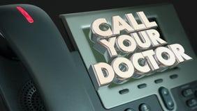 叫您的Phone Medical Help Advice医生健康 免版税库存图片