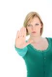 叫确定的妇女止步不前 免版税库存照片