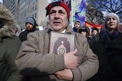 召集反对唐纳德・川普` s回教禁令在多伦多 免版税库存图片