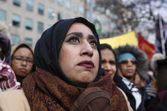召集反对唐纳德・川普` s回教禁令在多伦多 免版税图库摄影