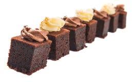 叮咬大小的巧克力蛋糕x 库存图片