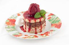 叮咬蛋糕范围草莓 库存图片