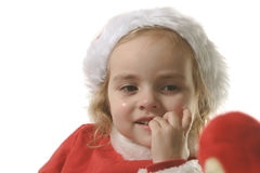 叮咬辅助工他的钉子圣诞老人 免版税图库摄影