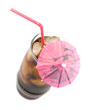 可乐冷泡沫腾涌的冰 免版税库存图片