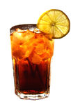 可乐求冰柠檬片式的立方 免版税图库摄影