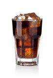 可乐求玻璃冰的立方 免版税库存图片