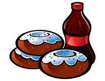 可乐油炸圈饼 免版税库存图片