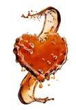 从可乐飞溅的心脏与在白色隔绝的泡影 库存照片