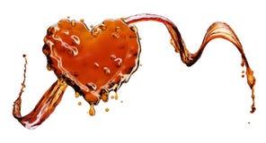 从可乐飞溅的心脏与在白色隔绝的泡影 向量例证
