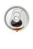 可乐饮料顶视图从绿色铝饮料 库存图片