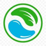 可再循环的象,生物可分解的塑料自由包裹商标模板 生物自然分解的塑料绿色叶子传染媒介 皇族释放例证