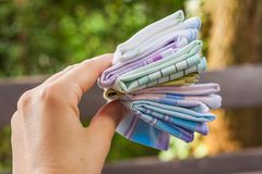 可再用的100%棉花手帕 免版税库存图片