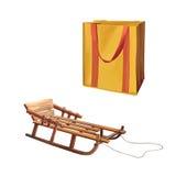 可再用的购物袋,杂货的袋子,木 皇族释放例证