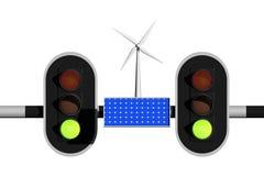 可再造能源的绿灯 免版税库存图片